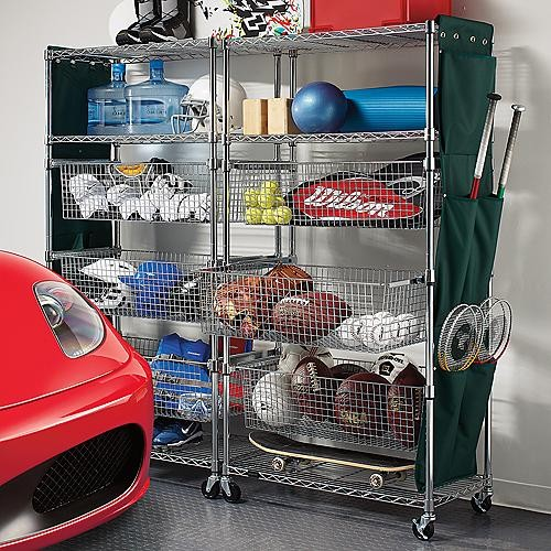 Metallic Finished Sports Shelving With Pull Out Bins
