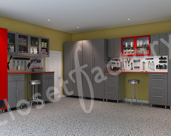 Closet Factory Stylish Red And Grey Modern Garage